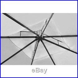 10'x 10' Patio Outdoor Gazebo with Roof Poly Rattan Garden Cream White/Dark Gray