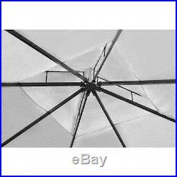 10'x 13' Patio Outdoor Gazebo with Roof Poly Rattan Garden Cream White/Dark Gray