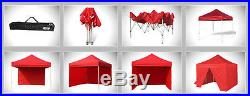 10x10 Ez Pop Up Canopy Instant Vendor Commercial Patio Gazebo Tent +4 Side Walls