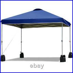 10x10 FT Pop up Canopy Tent Wheeled Carry Bag 4 Canopy Sand Bag Blue