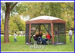 12-by-10-foot Hex Instant Screened Outdoor Camping Canopy Gazebo Shelter Tent