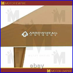 13'x13' Auto extension Push Up Gazebo Canopy Shelter Tan Height Adjustable