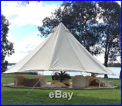 5M Large Camping Bell Tents Outdoor Waterproof Cotton Canvas Glamping Yurt Tents