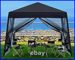 ABCCANOPY Stable Pop up Outdoor Canopy Tent with Netting Wall, 8x8 Black