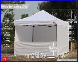 AbcCanopy 10x10 White Commercial Instant Pop Up Canopy Shelter 100% waterproof