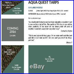 Aqua Quest Defender 10 x 7 ft Medium Waterproof Tarp Heavy Duty Camping Camo