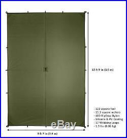 Aqua Quest Guide Sil Tarp -100% Waterproof 4 x 3 m (13 x 10ft) Large Olive