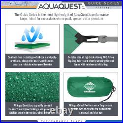 Aqua Quest Guide Tarp 10 x 10 ft Square Waterproof Tarp Kit Green