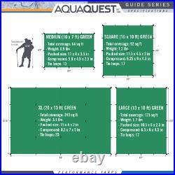 Aqua Quest Guide Tarp 13 x 10 ft Square Waterproof Tarp Green