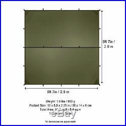 Aqua Quest Guide Tarp Square 10 x 10 ft Ultralight Waterproof Rip-Stop SIL