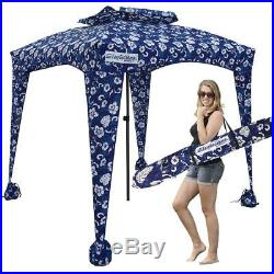 Beach & Sports Cabana Cool and Comfortable Large Shade Area 6' X 6' Blue Flowers
