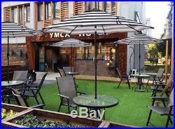 Blissun 9' Outdoor Aluminum Patio Umbrella, Market Striped Umbrella with