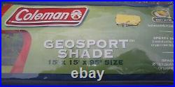 COLEMAN GEOSPORT Instant Canopy Sun Shade Tent 15 X 15 X 95 Blue And White
