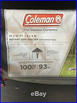 COLEMAN INSTANT SUN SHELTER 10x10 with Shade Wall