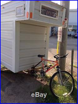 Camper Bicycle Minnebago Art Project but Functional Unique Fishing Shanty