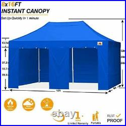 Canopy 8x16 Pop Up Commercial Canopy Tent with Side Walls Instant Shade, Bonus