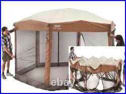 Canopy Tent Screened Sun Shade Instant Setup Ground Stakes Portable Brown New