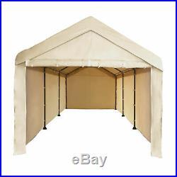Caravan Canopy CVAN12002110160 Mega Domain Carport 8 Leg 4 Sidewalls, Tan