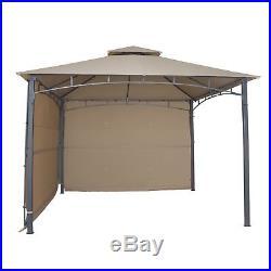 Cloud Mountain Garden Gazebo with 2 Sunshade Wall Curtain Patio Canopy, Sand