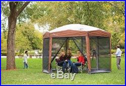 Coleman 12 X10 Ft Hex Instant Screened Canopy Gazebo Outdoor Sunshade Block New