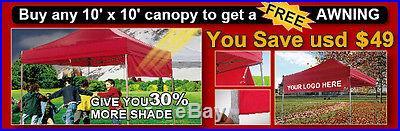 Eurmax 10X10 BLACK Ez Pop Up Canopy Tent+Awning+Roller bag+4walls