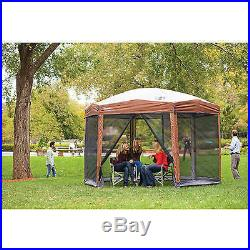 Hex Instant Screened Canopy Gazebo Backyard Outdoor Camping Shelter 12 X 10 ft