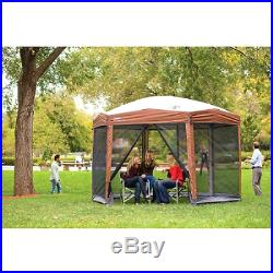 Instant Screened Canopy Gazebo Camping Outdoor Shelter Canopies 12 x10 ft Hex