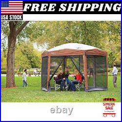 Instant Setup Tent Canopy Sun Shelter Screen House, 1 Room, 12 x 10 Brown New