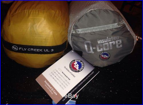 NEW 2013 Big Agnes Fly Creek UL3 Person Tent + Q-Core Insulated Long Pad