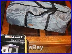 NTK TRANSFORM Camping Tent attach 10x10 pop up canopy. 4 windows +screen top. 10