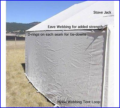 New 12x14 Canvas Wall Tent -Water/Mildew Treated & 3 RAFTER ANGLE KIT