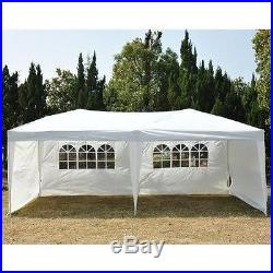 Outsunny Easy Pop Up Canopy Party Tent, 10 x 20-Ft, White w4 Removable Sidewalls