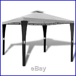 Patio 10' X 10' Outdoor Garden Rattan & Wicker Gazebo Canopy Cream White Roof