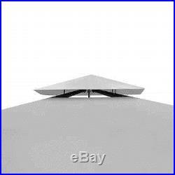 Patio Poly Rattan Gazebo Canopy with Cream White/Dark Gray Roof 10'x10'/10'x13