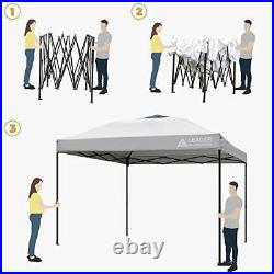 Pop Up Canopy Tent 10'x10' Canopy Shelter Straight Leg Wheeled Carry Bag-Silver