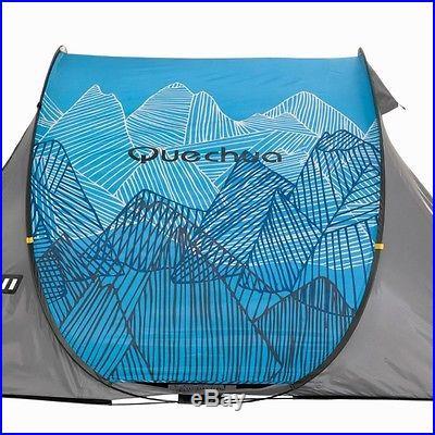 Quechua Waterproof Pop Up Camping Tent 2 Seconds II, 2 Man Double Lining (Blue)