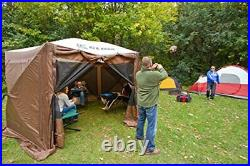 Quick-Set Pavilion Portable Outdoor Gazebo Canopy Shelter Screen Brown