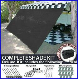 RV Awning Shade Motorhome Patio Sun Screen Complete Deluxe Kit (Black)