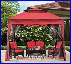 Red Easy-Up Gazebo/Sun Shelter/Canopy with Bug Screen Netting