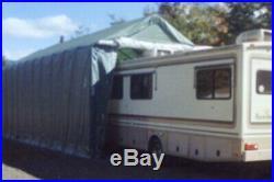 Rhino Shelter House Style 14' W x 42' L x 15' H Green RV/Boat Garage