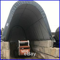 Rhino Shelter Round Style 14' W x 30' L x 12' H Gray Utility Building