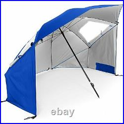 SPF 50+ Sun and Rain Canopy Umbrella for Beach and Sports Events (8-Foot, Blue)
