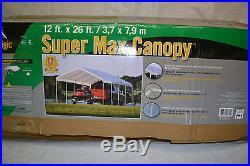 ShelterLogic 12 x 26- Feet Canopy 2- Inch 5-Rib Frame, White Cover