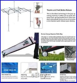 WATERPROOF 10x10 Ez Pop Up Canopy Vendor Trade Show Tent+4 Removable Side Walls