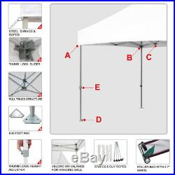 White Ez Pop Up Waterproof 10x10 Commercial Canopy Shade Tent With Wheeled Bag