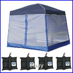 Z-Shade 10' x 10' Angled Leg Instant Navy Blue Canopy with Screen and Weights