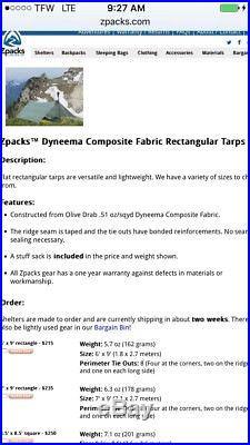 Zpacks Cuben Fiber Dyneema Tarp 9x6